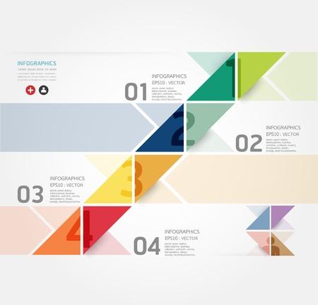 numbered: Modern Design Minimal template infografica stile  pu� essere usato per infografica  banner numerati  linee di ritaglio orizzontale  layout grafico o al sito web Vettoriali