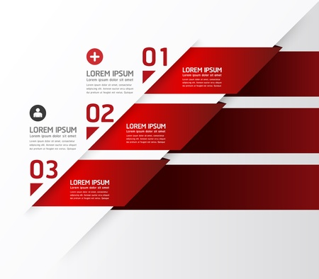 rot: Modernes Design template  kann für Infografiken  nummeriert Banner  horizontal Ausschnitt Linien  Grafik oder Website-Layout verwendet werden