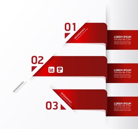 rojo: Modelo del diseño moderno  se puede utilizar para la infografía  banners numerados  líneas de corte horizontales  diseño gráfico o sitio web
