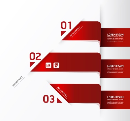 red heads: Modern Design template  can be used for infographics  numbered banners  horizontal cutout lines  graphic or website layout