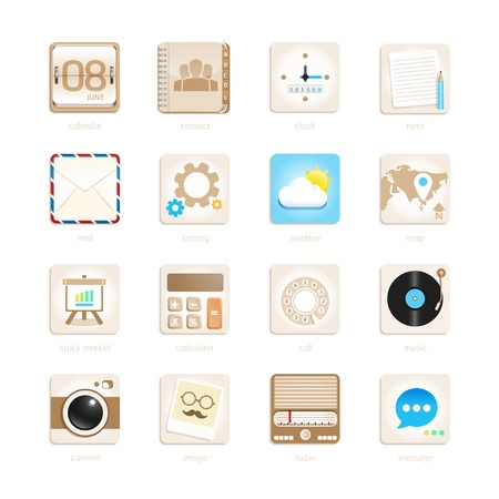 apps icons set retro style. Vector illustration  Vector