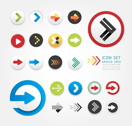 arrow icons design set  can be used for infographics    graphic or website layout vector Ilustração