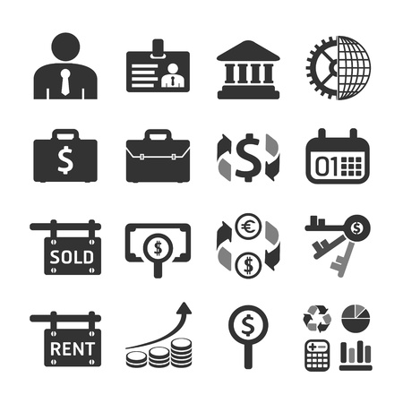 at symbol: Business and financial Icons set. Vector illustration.
