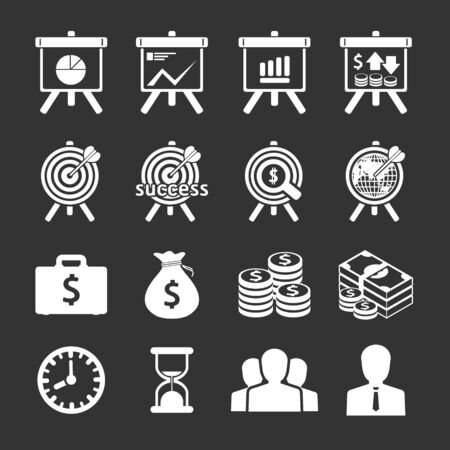 financial targets: Business and financial Icons set. Vector illustration.