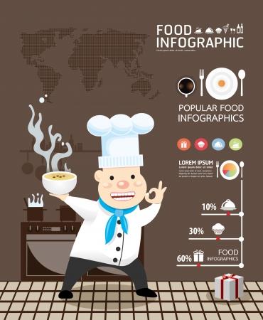gıda: Infographic gıda vektör Tasarım şablonu Çizim