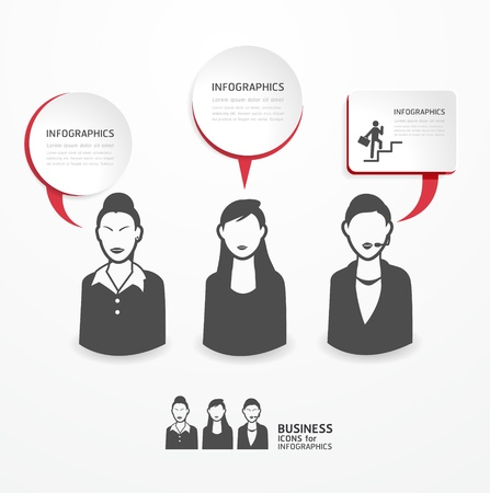 icons business people with dialog speech bubbles / can be used for infographics / business banners / education template / graphic or website layout vector Stock Vector - 20988430