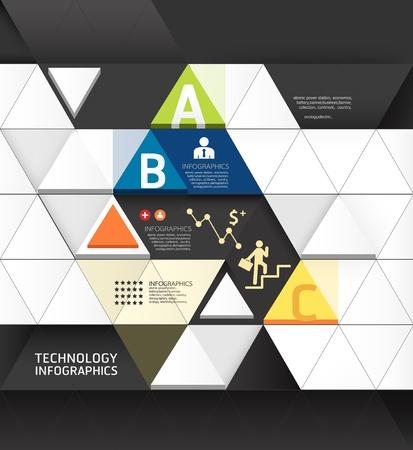 디자인: 추상 인포 그래픽 디자인 최소 삼각형 모양 스타일의 기술 템플릿  사용할 수있는 인포 그래픽  번호 배너  가로 컷 아웃 라인  그래픽 또는 웹 사이트 레이아웃 벡터