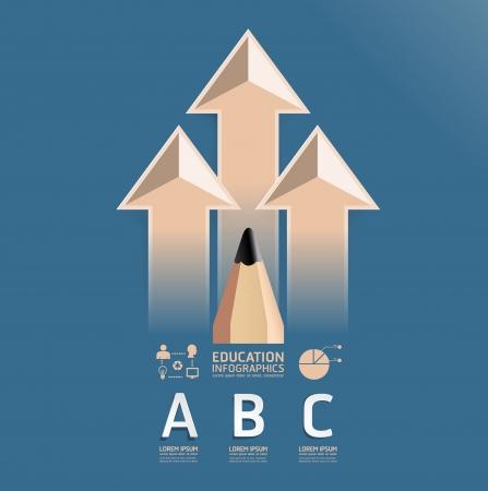 education: éducation infographie conception crayon modèle de style vintage  peut être utilisé pour infographie  bannières numérotées  lignes de découpe horizontales  vecteur de mise en page graphique ou site web Illustration