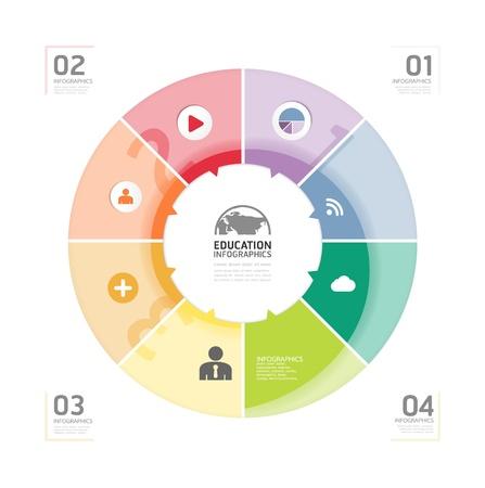 education: Résumé cercle infographie conception modèle de style Minimal  peut être utilisé pour infographie  bannières commerciales  éducation template  graphique ou un vecteur de mise en page de site Web Illustration