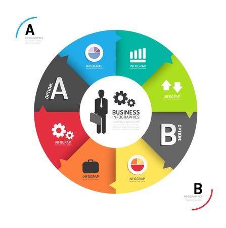oktatás: Absztrakt kör infographic Tervezés Minimális sablon  használható infographics  business banner  oktatás template  grafikus vagy weboldal layout vektor
