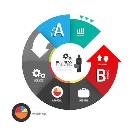 onderwijs: Abstracte cirkel infographic Ontwerp Minimale stijl template  kan worden gebruikt voor infographics  zakelijke banners  onderwijs template  grafische of website lay-out vector