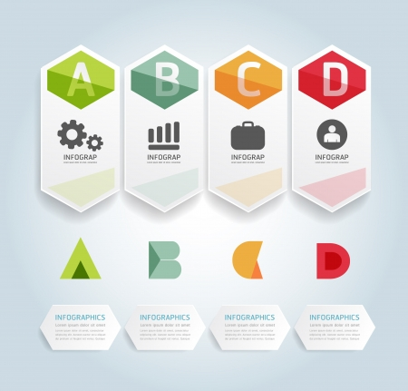 layout design: Modern Design Minimal style infographic template  can be used for infographics  numbered banners  horizontal cutout lines  graphic or website layout vector Illustration