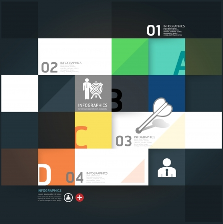 educating: Modern Design Minimal style infographic template  can be used for infographics  numbered banners  horizontal cutout lines  graphic or website layout vector Illustration