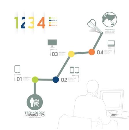 コンセプト: インフォ グラフィック技術デザイン タイム ライン テンプレートことができますインフォ グラフィックの使用バナーの番号水平行のカットアウト