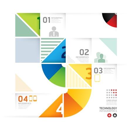 Estratto infografica disegno minimo cerchio forma template stile tecnologia / può essere usato per infografica / banner numerati / linee di ritaglio orizzontale / grafiche o sito web layout di vettore