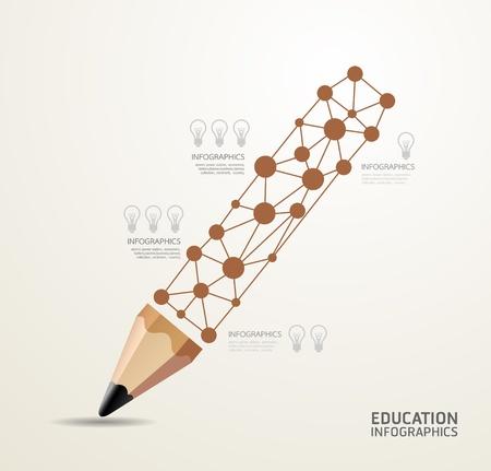 edukacja: Nowoczesny Design Minimal style template infografika  może być używany do infografiki  Sztandary numerowane  wyłącznik  poziomych linii lub stronie graficznej układu wektorowa Ilustracja
