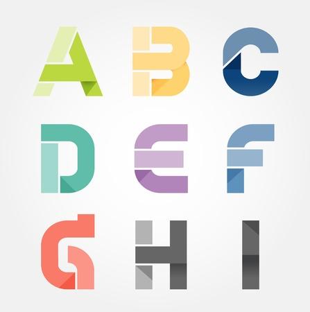 alfabet moderne papier te snijden abstracte stijl Design. Vector illustratie.