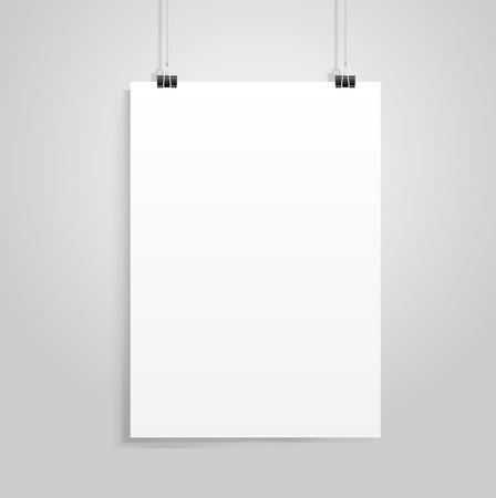 clipe de papel: papel branco com clip vecrot Ilustra��o