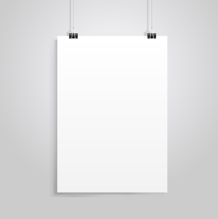 paper  clip: white paper with clip vecrot Illustration