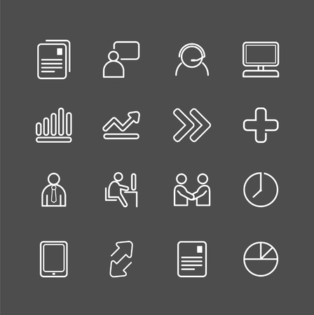 business white line Icons set . Vector illustration. Stock Vector - 21451526
