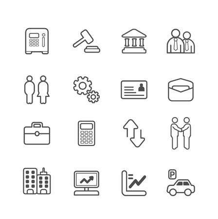 information technology law: business and finance line Icons set. Vector illustration.
