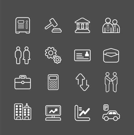 business and finance white line Icons set. Vector illustration. Vector