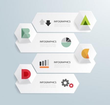 Diseño de plantilla infografía estilo moderno y minimalista con el alfabeto / se puede utilizar para la infografía / banners numerados / líneas de corte horizontal / vector diseño gráfico o sitio web