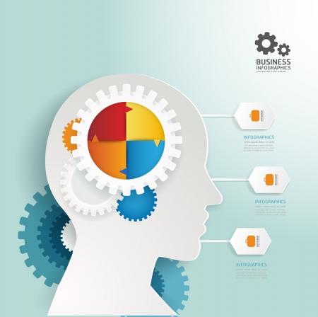 hombre estudiando: Dise�o de plantilla infograf�a estilo de engranajes Modern  se puede utilizar para la infograf�a  banners numerados  l�neas de corte horizontal  vector dise�o gr�fico o sitio web