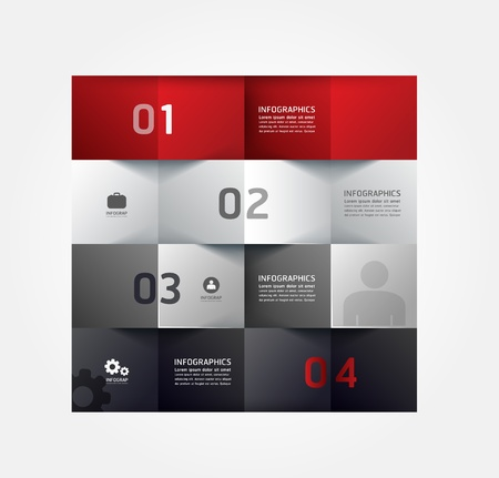 Modernes Design Minimal Art Infografik template / kann für Infografiken / nummeriert Banner / horizontal Ausschnitt Linien / Grafik oder Layout der Website Vektor verwendet werden Standard-Bild - 21451574