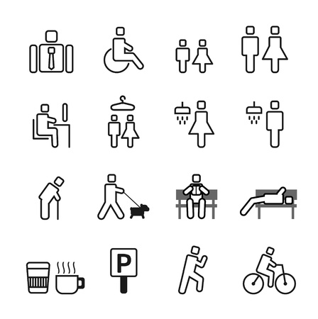 man in park Icons set. Stock Vector - 21451619