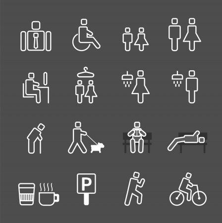 man in park white line style Icons set. Stock Vector - 21451620