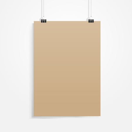 old brown paper with clip vecrot Vector