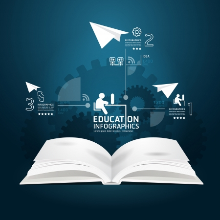 educating: diagrama de libro plantilla de estilo de corte de papel creativa puede ser utilizado para l�neas de corte horizontales infograf�a gr�fico o sitio web de dise�o vectorial