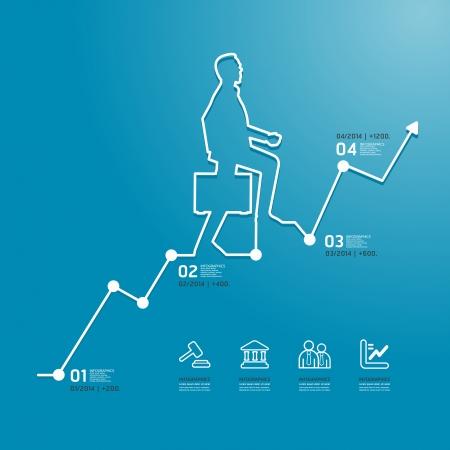インフォ グラフィックのビジネス図ライン スタイル テンプレートを使用することができます水平カットアウト行グラフィックやウェブサイトのレ