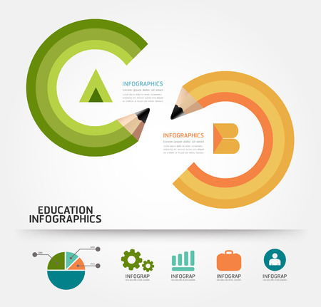 infographics education pencil concept vector illustration Vector