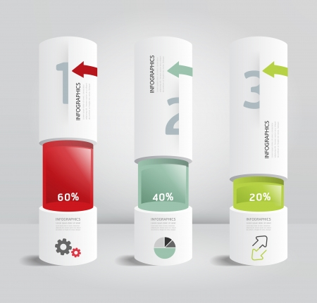 infographic template Modern box cylinder Design Minimal style   can be used for infographics   numbered banners   horizontal cutout lines  Illustration