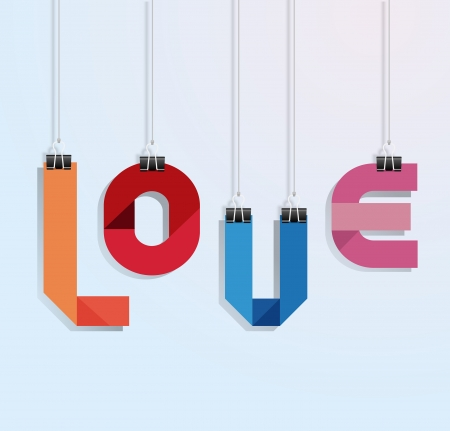 i love you paper with clip vecrot Vector