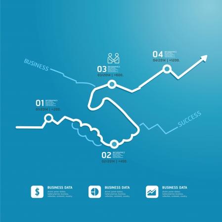 flechas: plantilla de estilo de línea diagrama de negocios apretón de manos  se puede utilizar para la infografía gráfico o sitio web de diseño vectorial