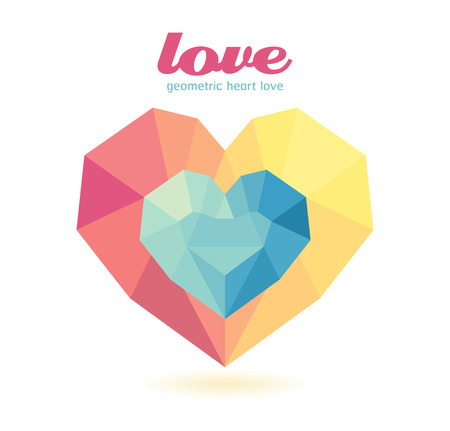 icosahedron: geometric heart Modern Design  graphic or website layout vector