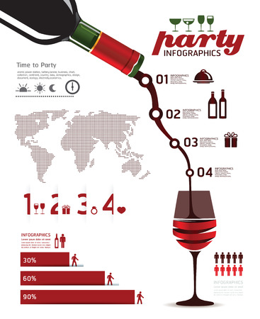 infographics set and Information party Graphics vector Illustration