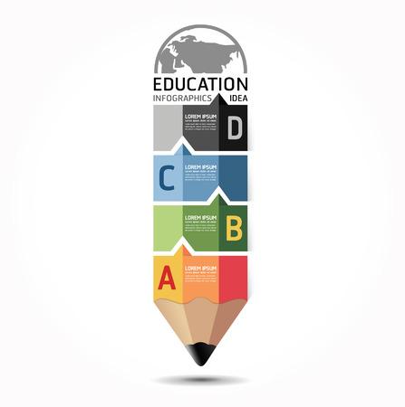 芸術的: インフォ グラフィック デザイン最小限のスタイル鉛筆テンプレートを抽象化することができますインフォ グラフィックの使用こと番号バナー水平行のカットアウトベクトル グラフィックやウェブサイトのレイアウト