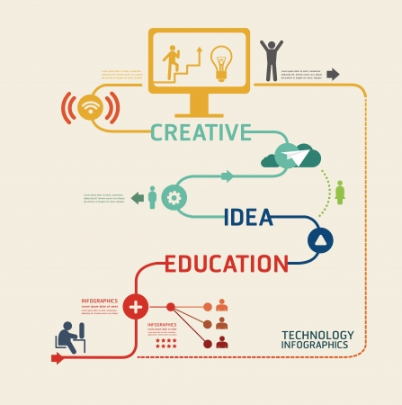 computer education: technology design pictogram template  can be used for infographics graphic or website layout vector Illustration