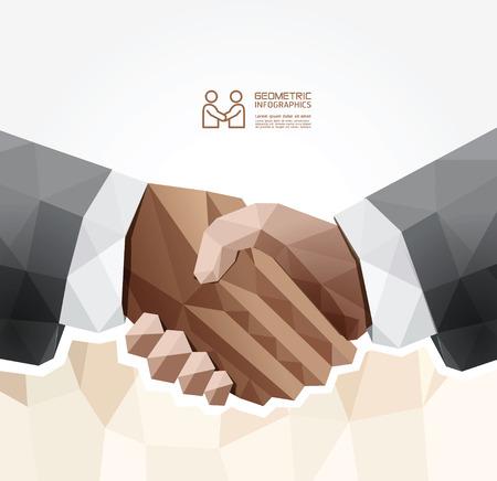 saludo de manos: Dise�o geom�trico handshake Modern  se puede utilizar para la infograf�a  numerada banners  gr�fico o sitio web de dise�o vectorial Vectores