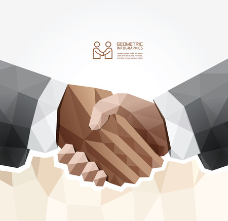 conceptual symbol: Geometric Modern handshake Design   can be used for infographics  numbered banners   graphic or website layout vector Illustration