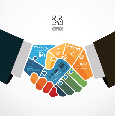 handshake icon: infographic Template with businessman handshake jigsaw banner . concept vector illustration