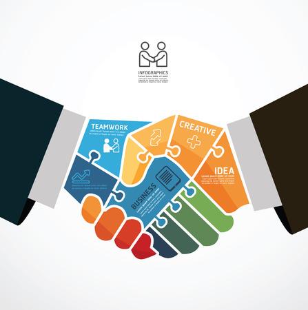 fondo tecnologia: Plantilla infograf�a con el empresario apret�n de manos la bandera de rompecabezas. concepto de ilustraci�n vectorial