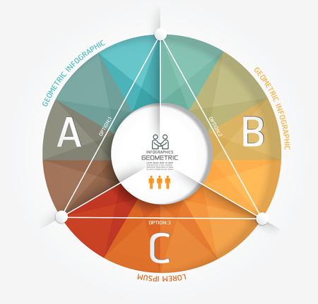 conception: Dessin géométrique moderne de style Minimal modèle infographique  peut être utilisé pour l'infographie  numérotée bannières  graphique ou disposition de site Web vecteur Illustration