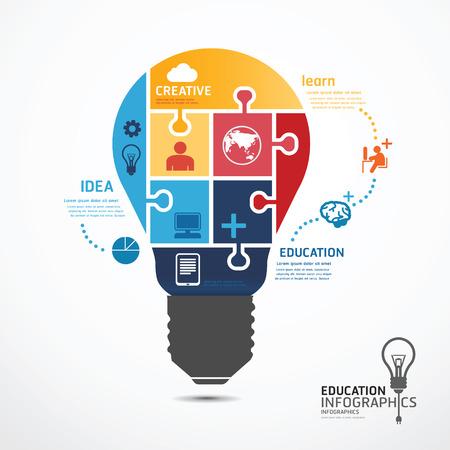 Modèle infographie avec des ampoules puzzle bannière. concept vecteur