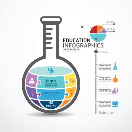 educacion: Plantilla infografía con tubo de ensayo bandera rompecabezas. concepto de ilustración vectorial