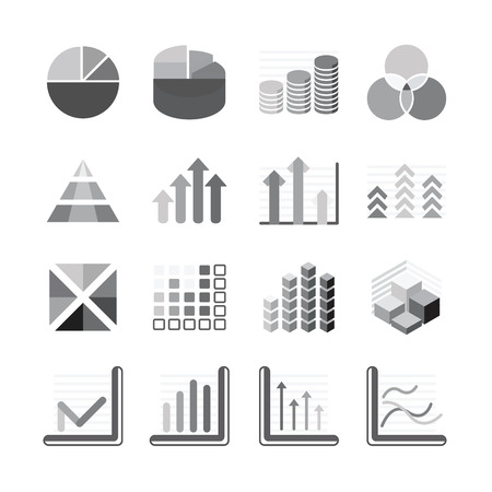 balck: Graph chart Business and financial Icons set balck color. Vector illustration.